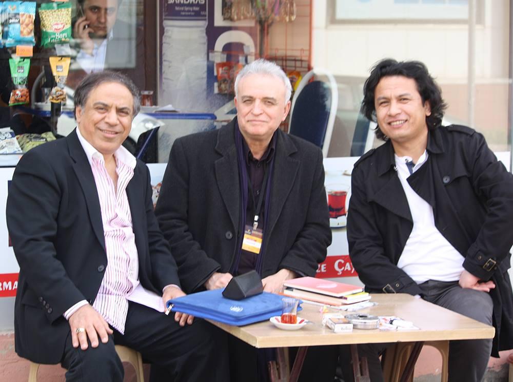 Istanbul, March 2015: Poets Ahmad Al Shahawy (Egypt), Adnan Özer (Turkey) and Kamran Mir Hazar(Hazaristan)